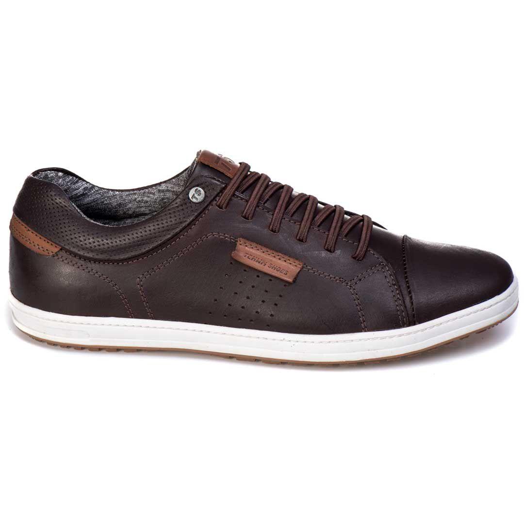 Sapatênis Tchwm Shoes Casual Couro Cadarço Elástico - Café