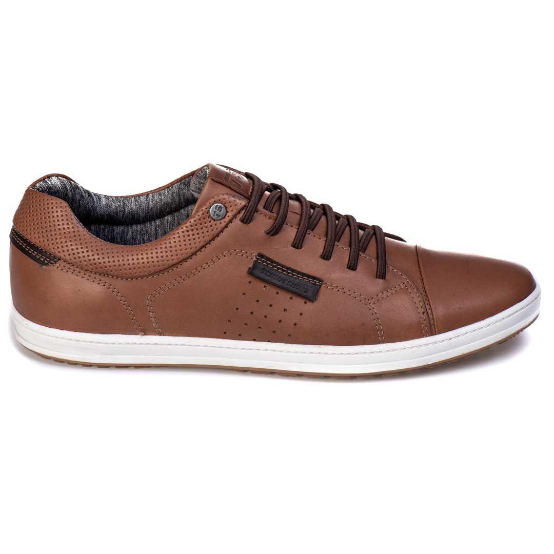 Sapatênis Tchwm Shoes Casual Couro Cadarço Elástico - Tabaco