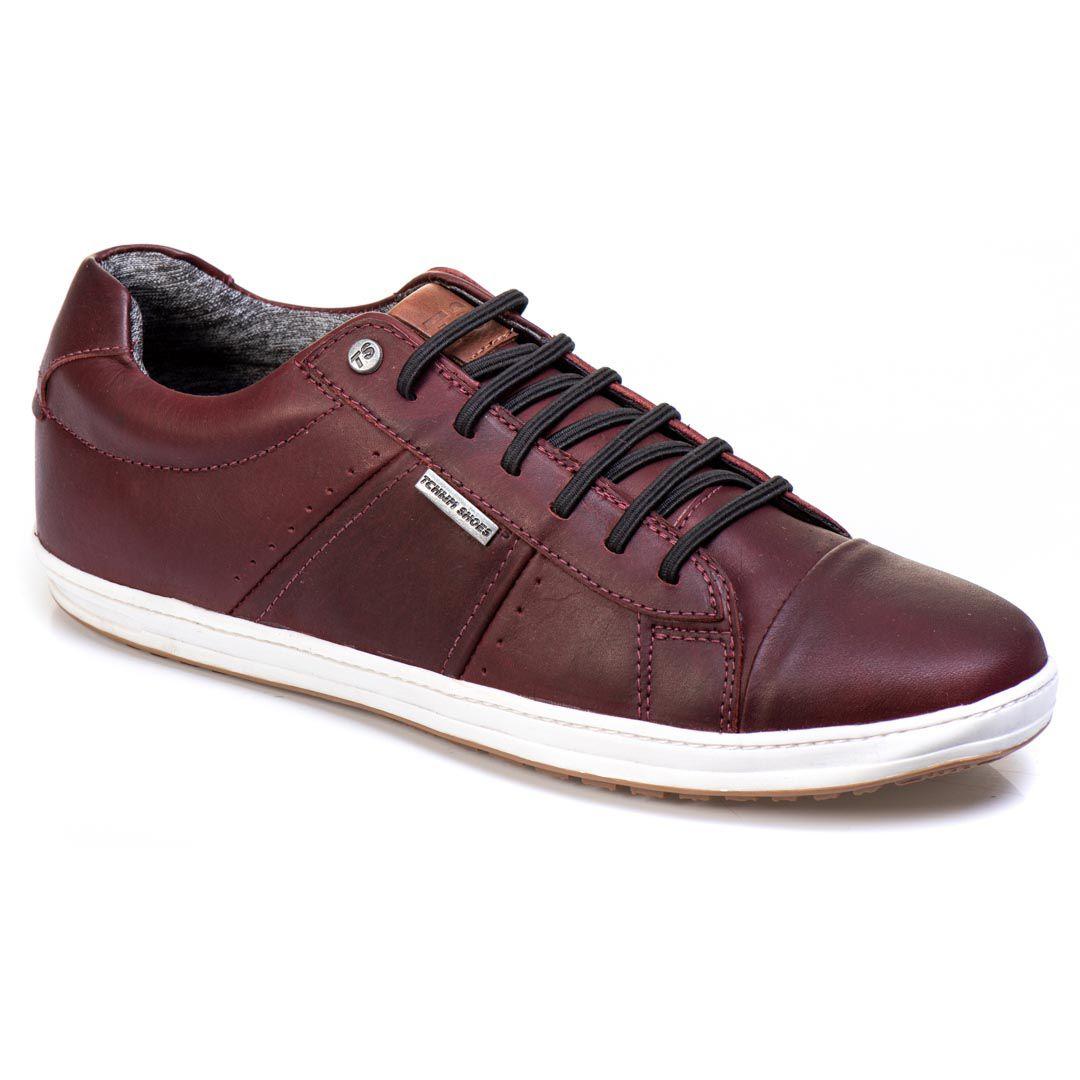 Sapatênis Tchwm Shoes Casual Masculino Couro com Cadarço - Bordo