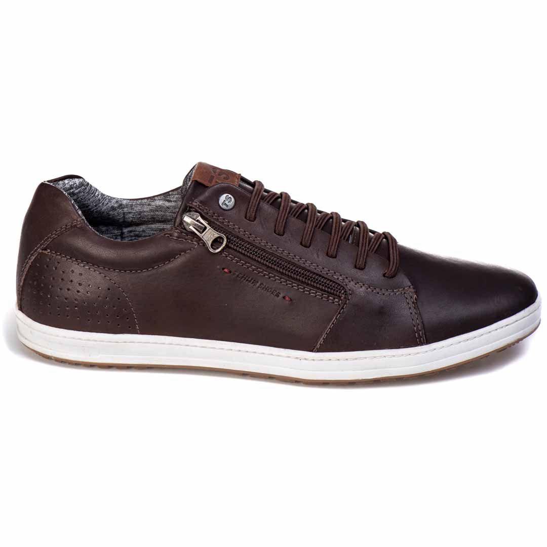 Sapatênis Tchwm Shoes Casual Couro com Zíper - Café