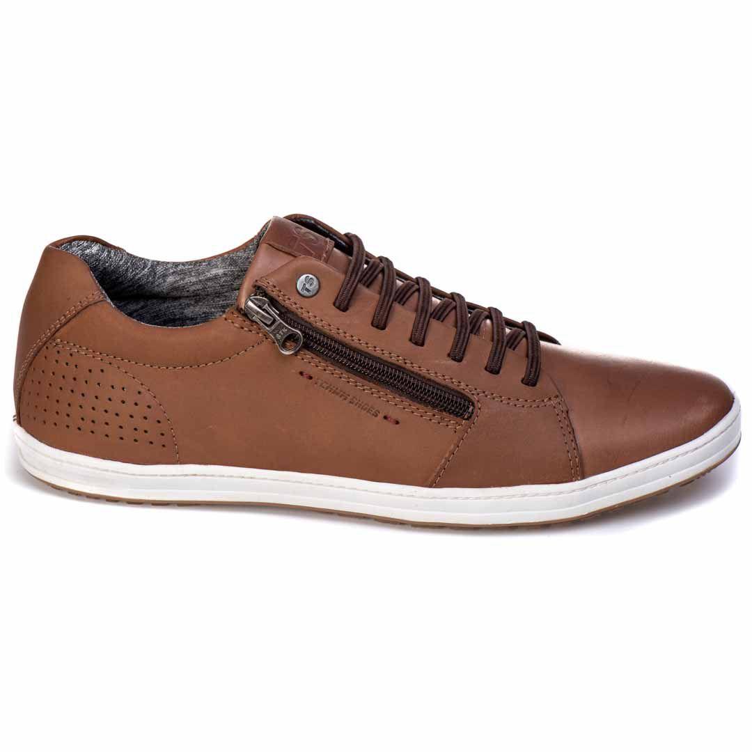 Sapatênis Tchwm Shoes Casual Couro com Zíper - Chocolate