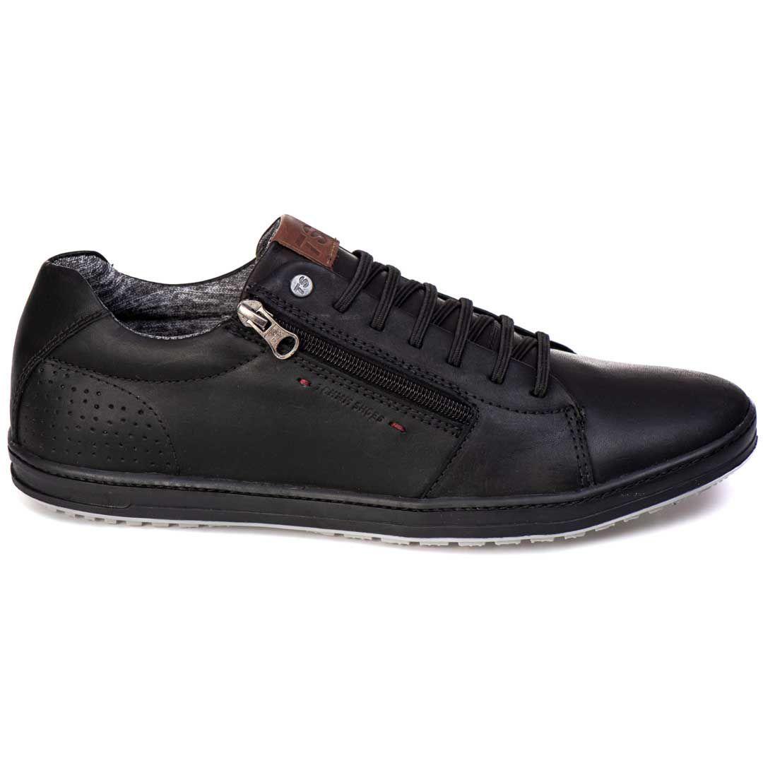 Sapatênis Tchwm Shoes Casual Couro com Zíper - Preto
