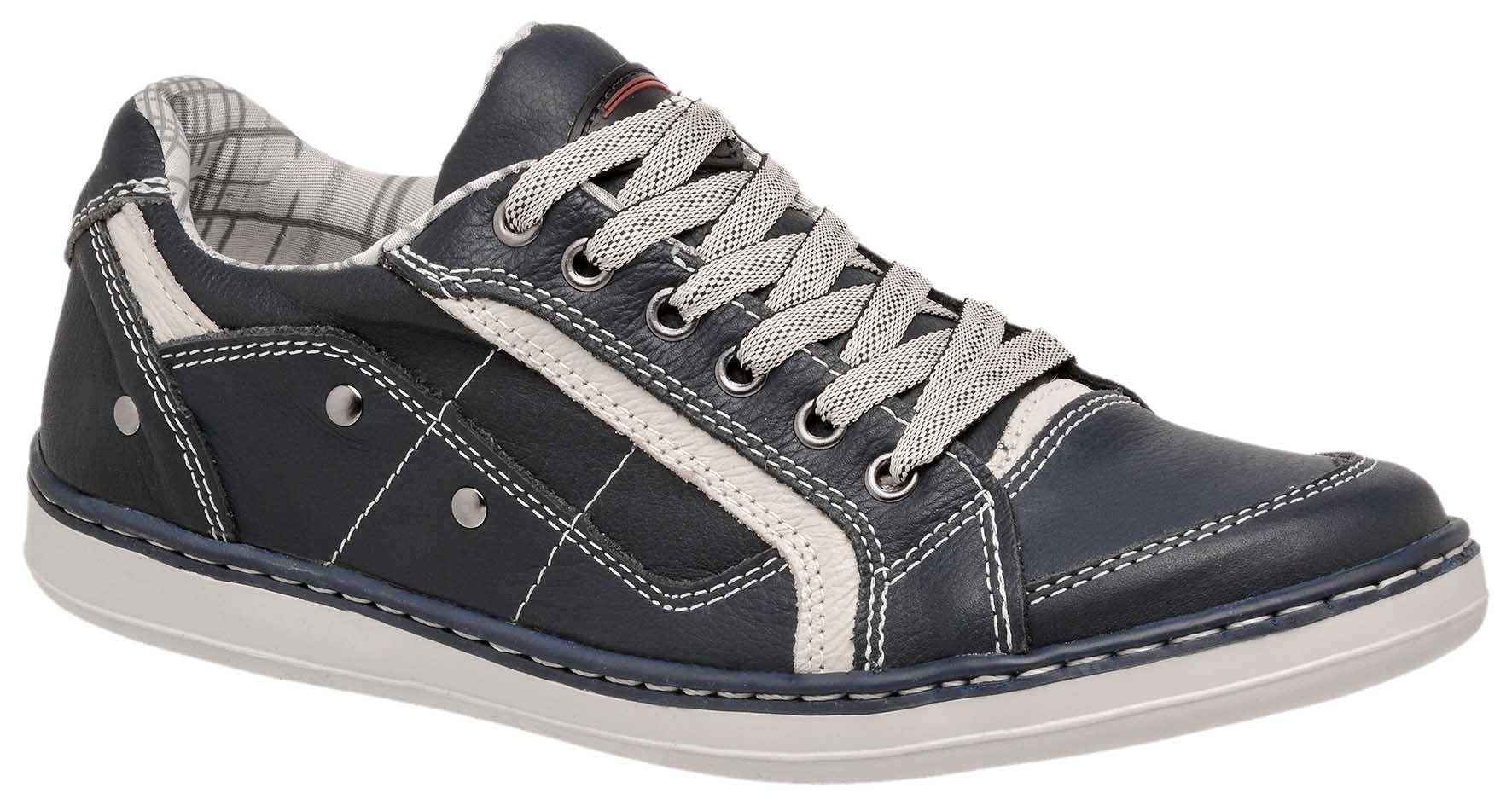 b237f7f8980 Sapatênis Casual Masculino Costurado Tchwm Shoes Couro Legítimo - Azul