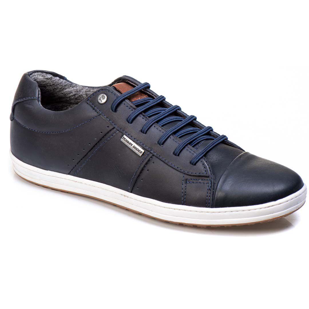 Sapatênis Tchwm Shoes Casual Masculino Couro com Cadarço - Azul Marinho