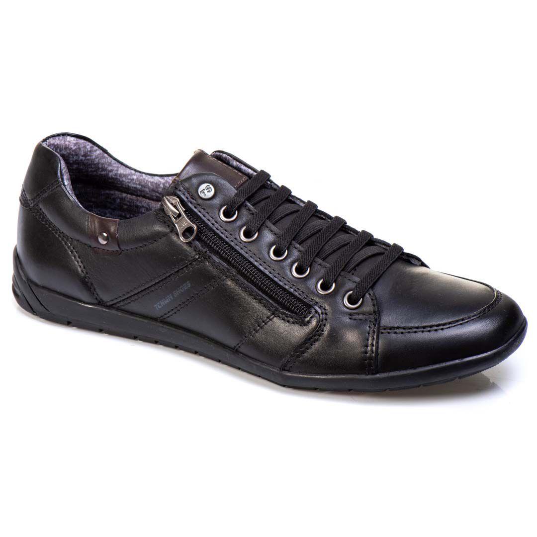 Sapatênis Tchwm Shoes Casual Masculino Couro com Zíper - Preto