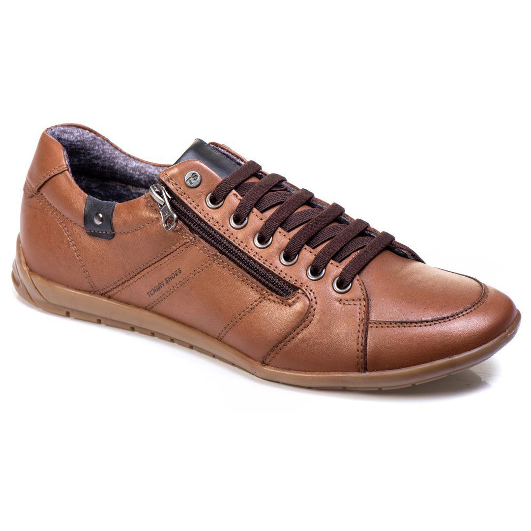 Sapatênis Tchwm Shoes Casual Masculino Couro com Zíper - Whisky