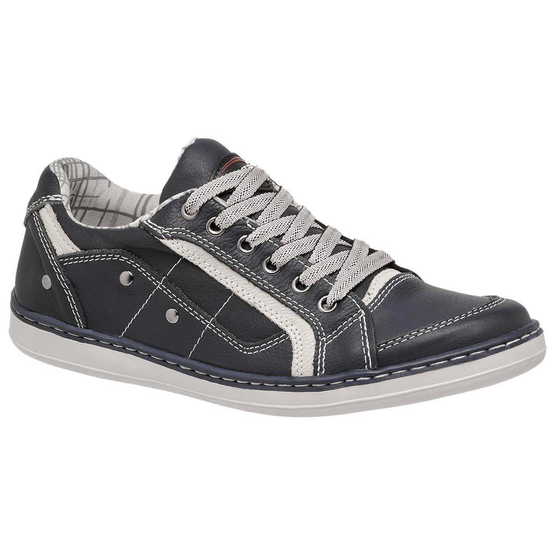 Sapatênis Casual Tchwm Shoes Costurado em Couro - Azul