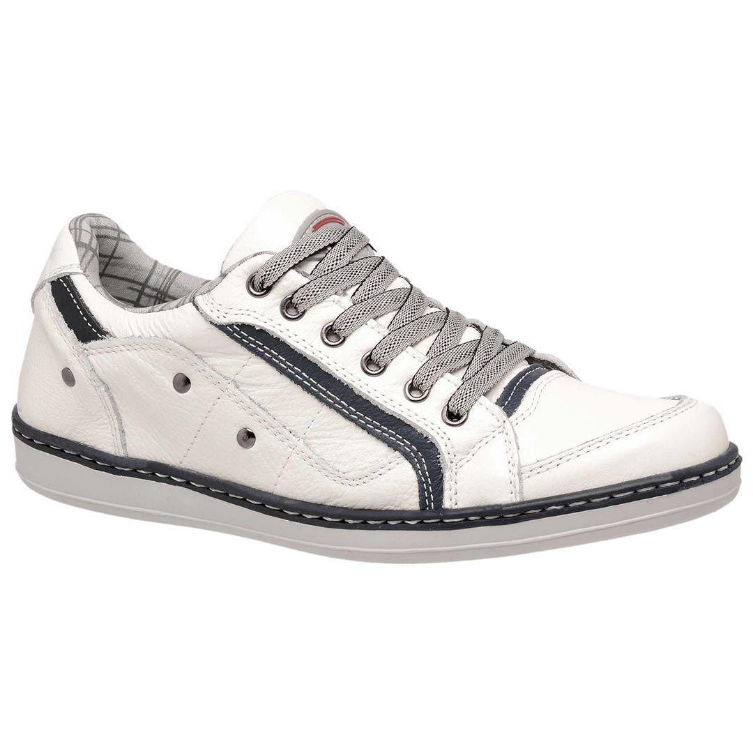 Sapatênis Casual Tchwm Shoes Costurado em Couro - Bege