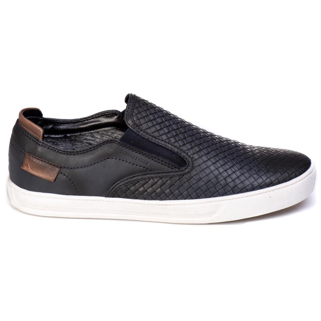 Sapatênis Iate Tchwm Shoes Couro Trissê - Azul Marinho