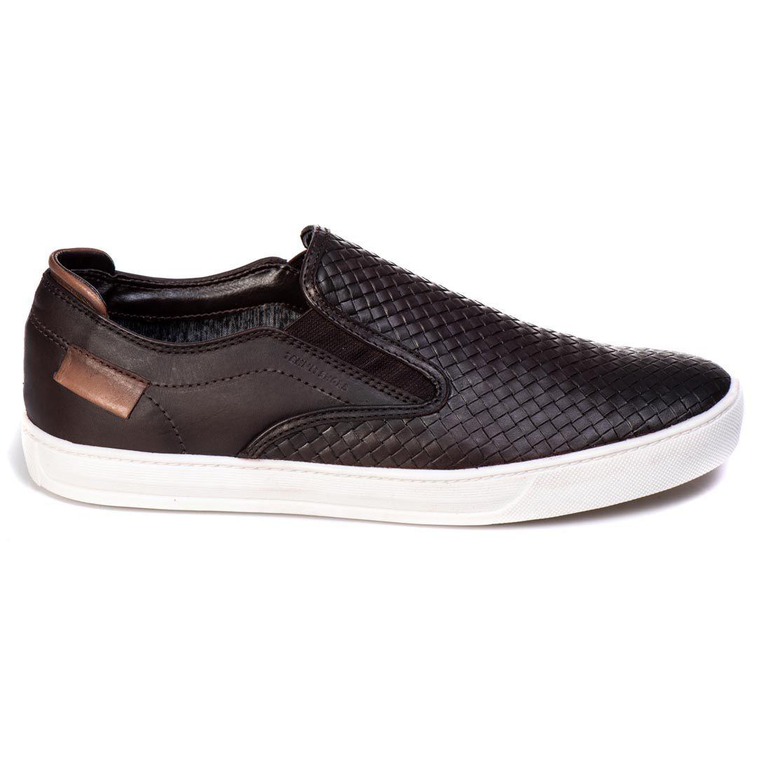 Sapatênis Iate Tchwm Shoes  Couro Trissê - Café