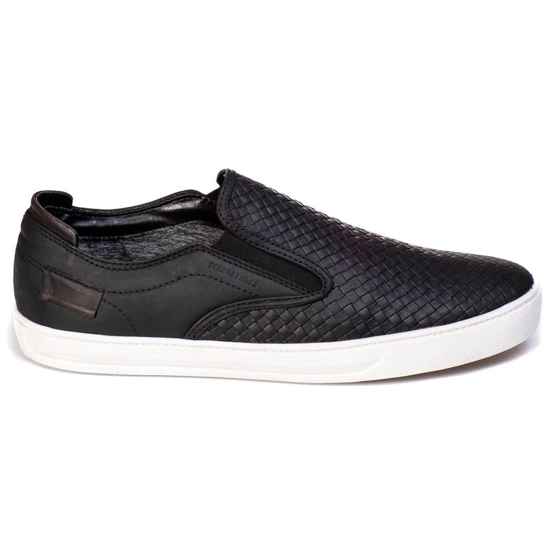 Sapatênis Iate Tchwm Shoes  Couro Trissê - Preto