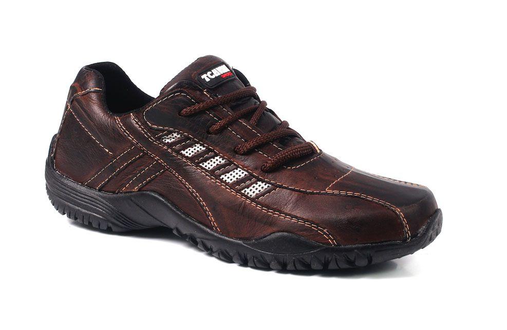 Sapatênis Tchwm Shoes Masculino em Cadarço Couro - Marrom