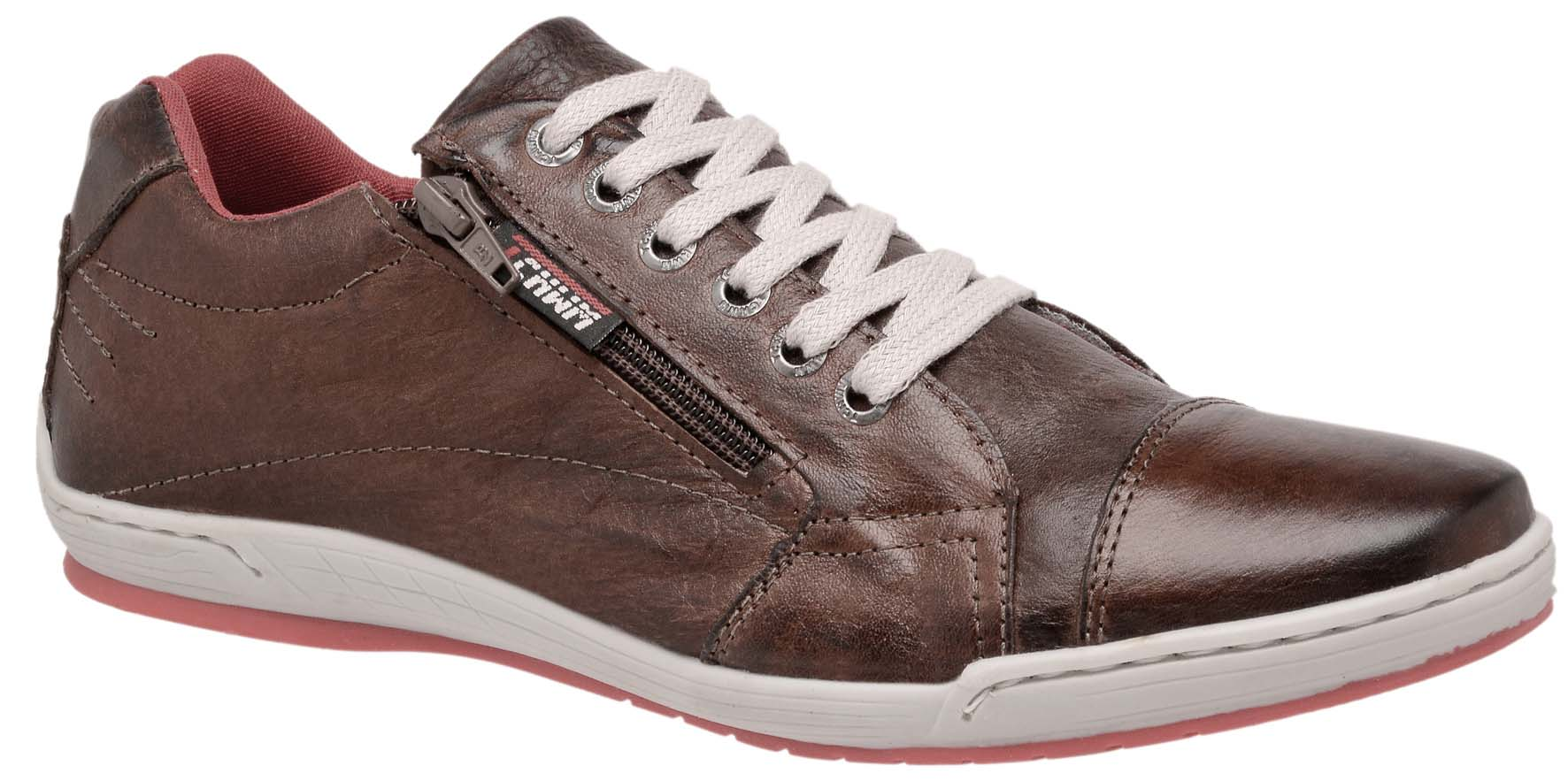 Sapatênis Zíper Stilo Tchwm Shoes Couro Fóssil - Marrom