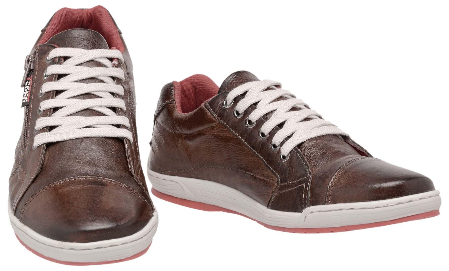0c308877a0b32 ... Sapatênis Zíper Stilo Tchwm Shoes Couro Fóssil - Marrom - Madrid Outlet  ...
