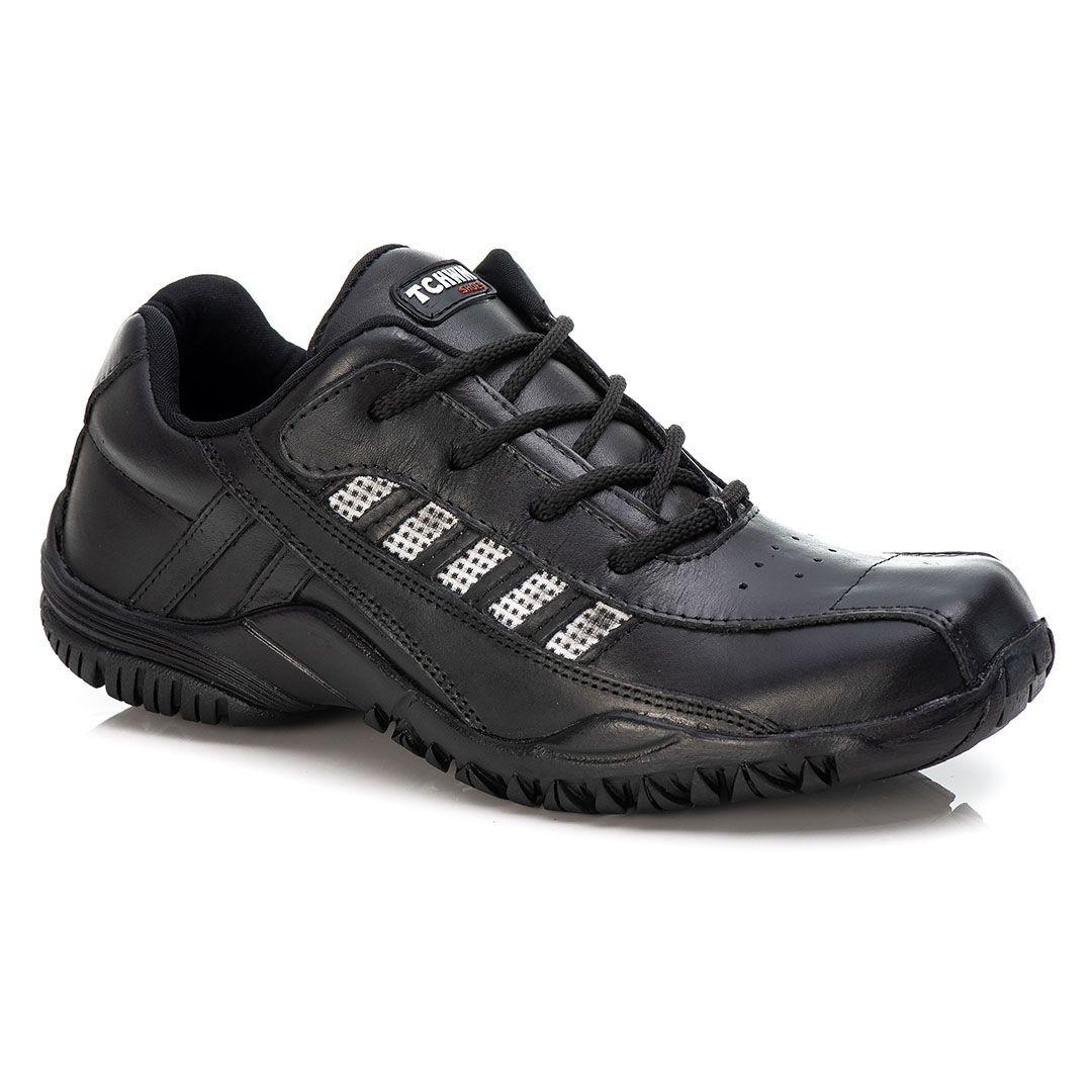 Sapatênis Tchwm Shoes Masculino em Cadarço Couro Leve Macio Marrom e Preto