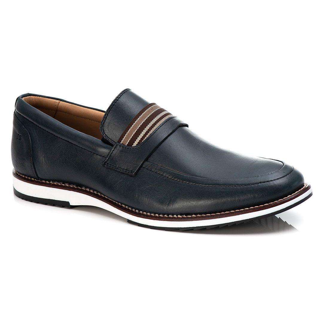 Sapato Brogue Premium Masculino Tchwm Shoes Confort  Couro - Azul Marinho