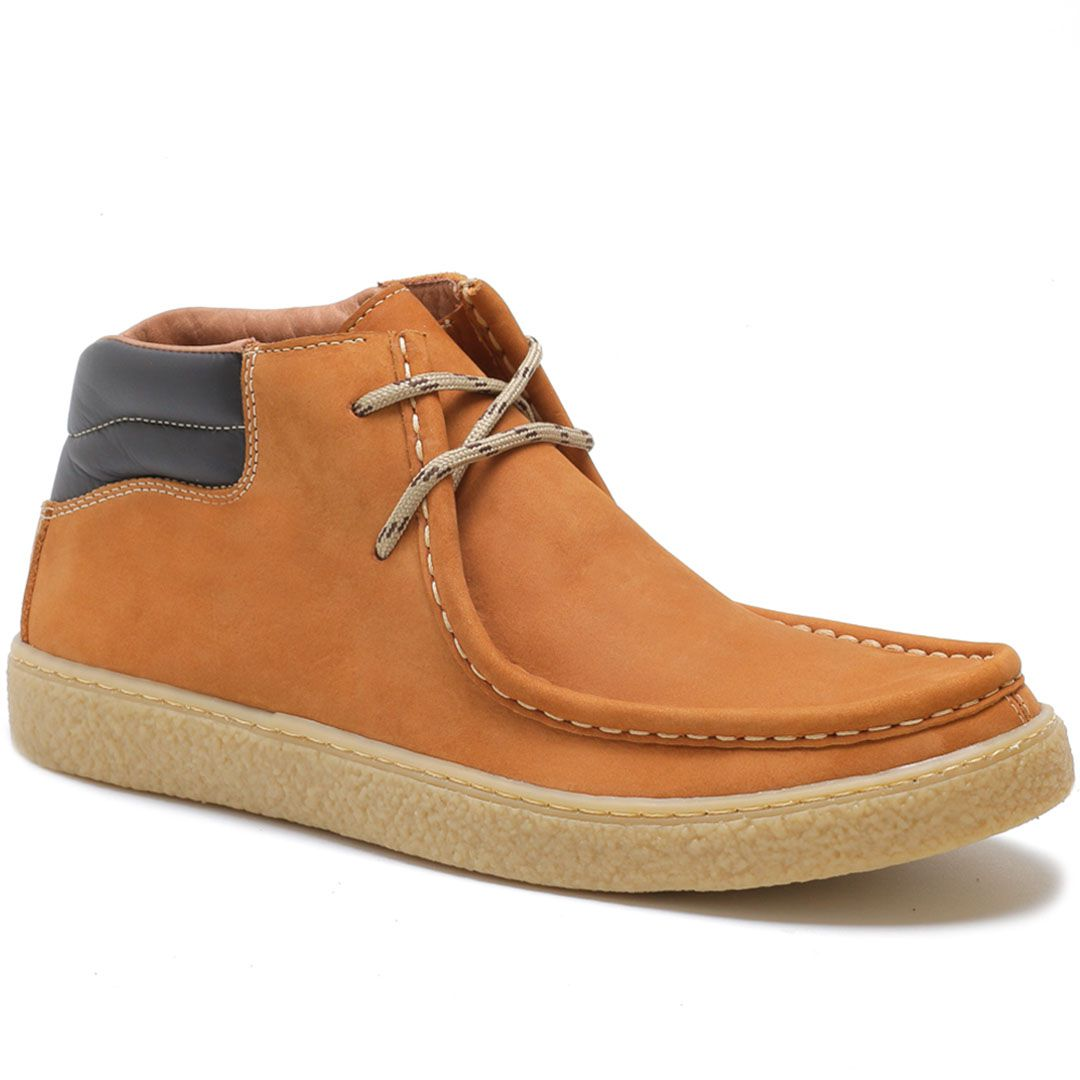 Sapato Cacareco em Couro Nobuck - Mostarda