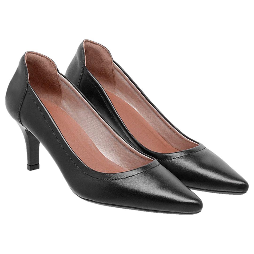 Sapato Feminino Scarpin Couro - Preto