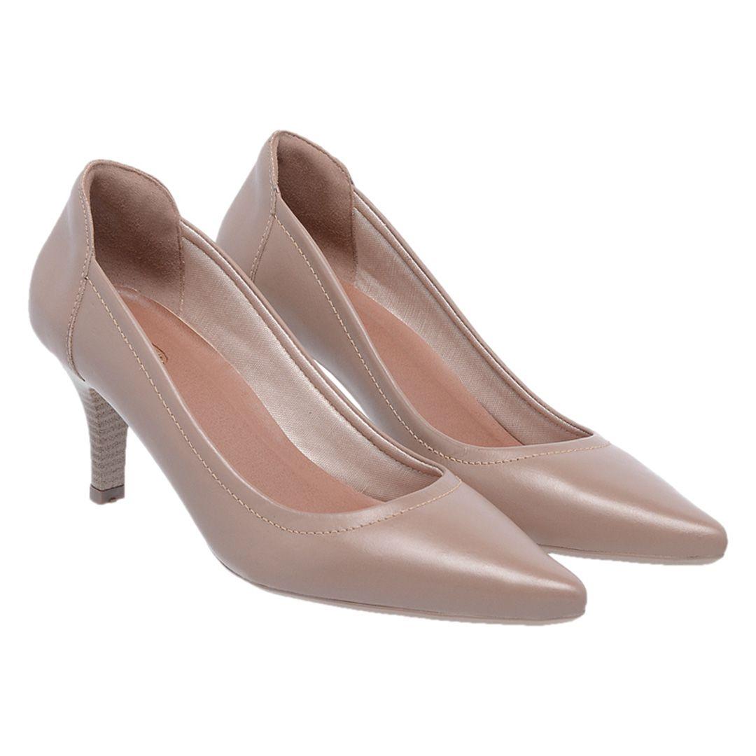 Sapato Feminino Scarpin Couro - Taupe