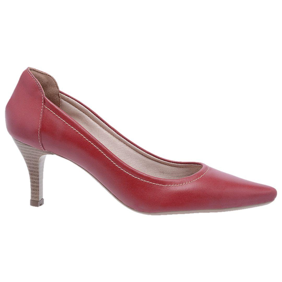 Sapato Feminino Scarpin Couro - Vermelho