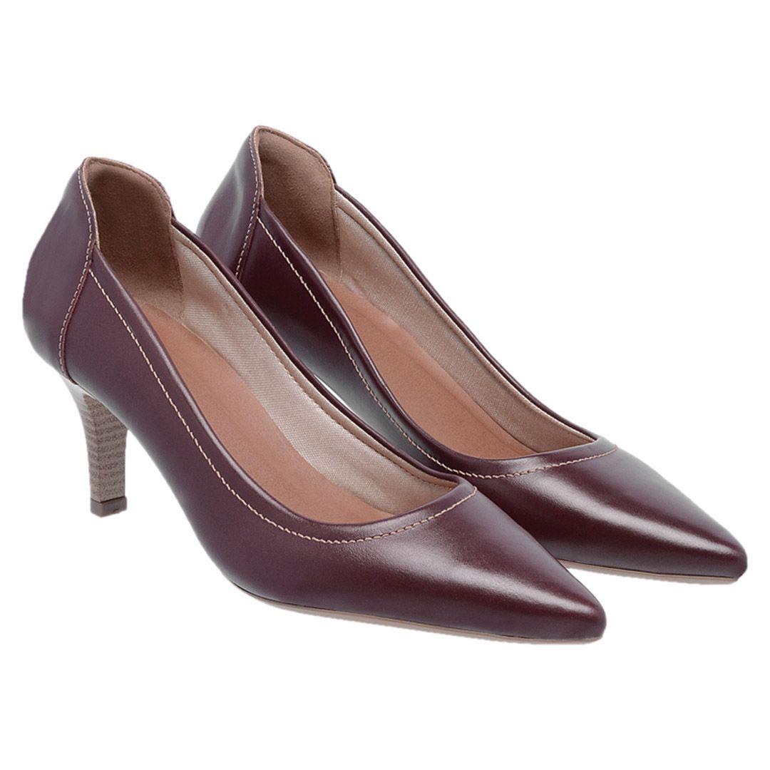 Sapato Feminino Scarpin Couro - Vinho