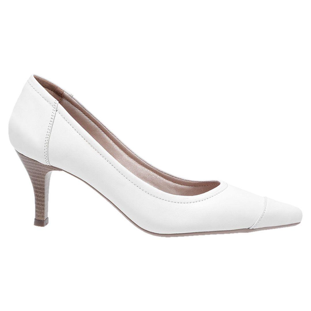 Sapato Feminino Scarpin Couro - Branco