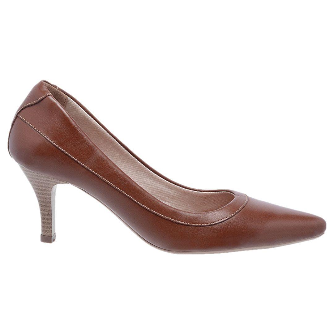Sapato Feminino Scarpin Couro - Chocolate