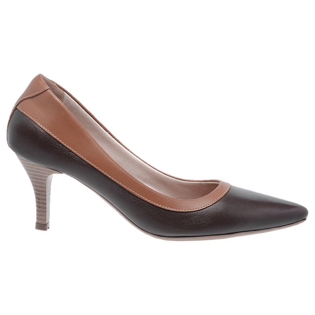Sapato Feminino Scarpin Couro - Marinho
