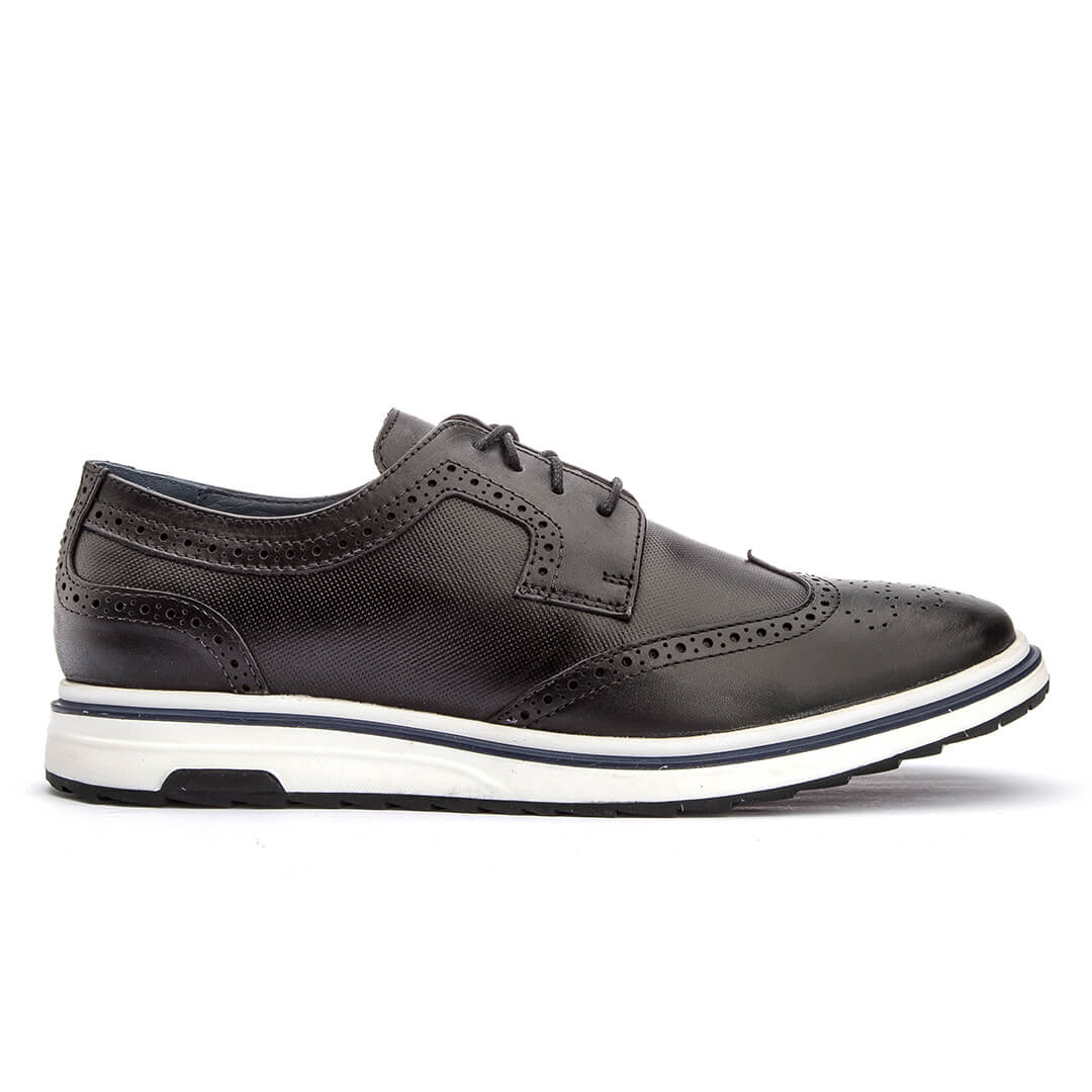 Sapato Masculino Casual Sun West Oxford Espanha Couro - Preto
