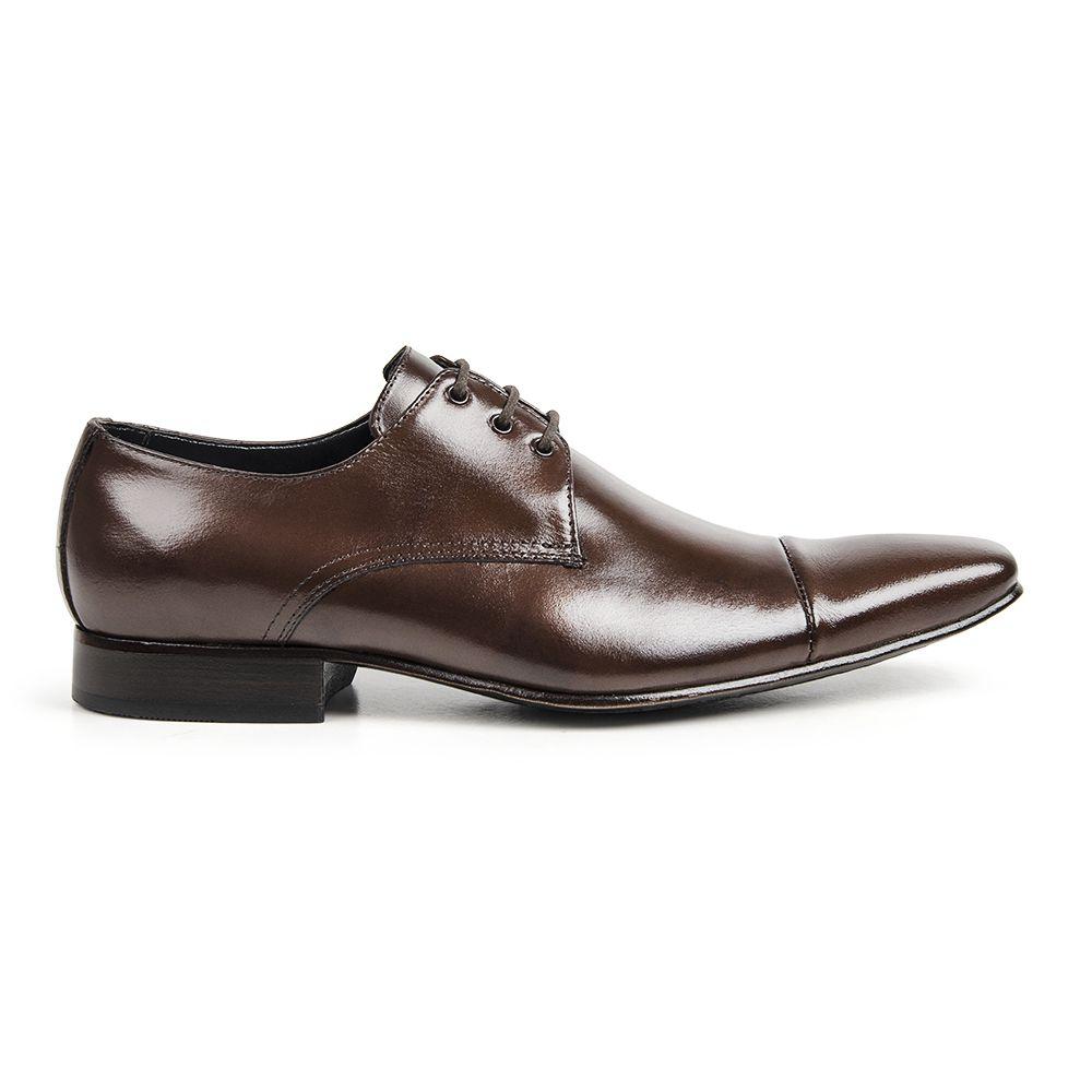 Sapato Social Bigioni Masculino Bico Alongado Amarrar Couro Liso - Marrom