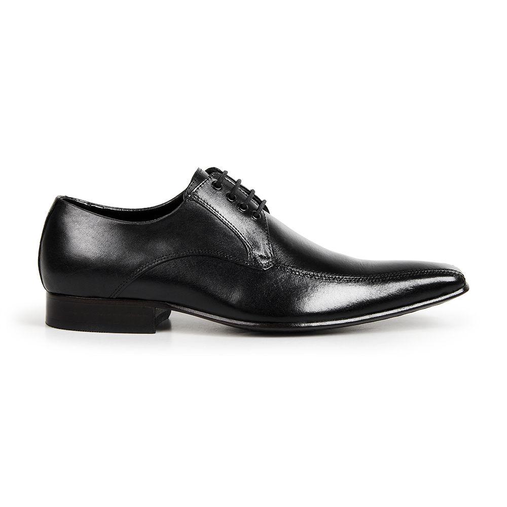 Sapato Social Bigioni Masculino Cadarço Bico Alongado Couro - Preto