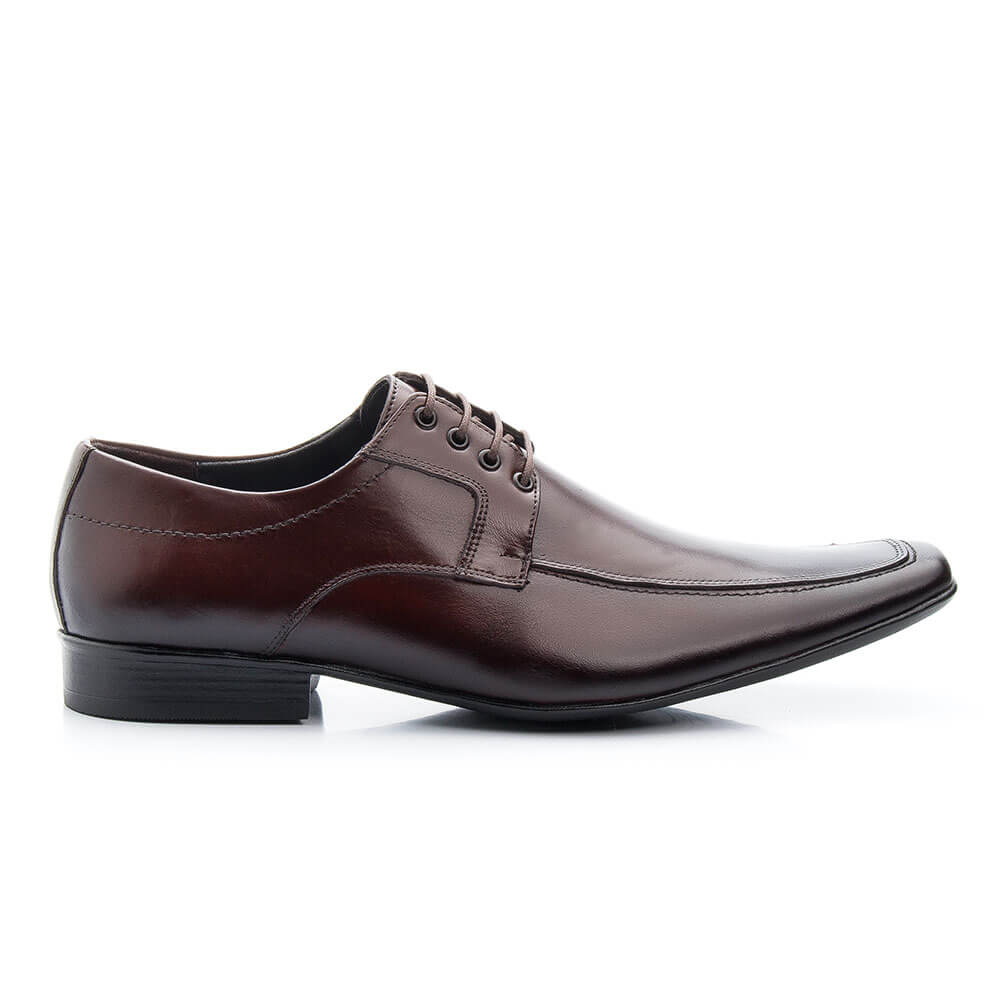Sapato Social Bigioni Masculino Com Cadarço Couro Liso - Marrom