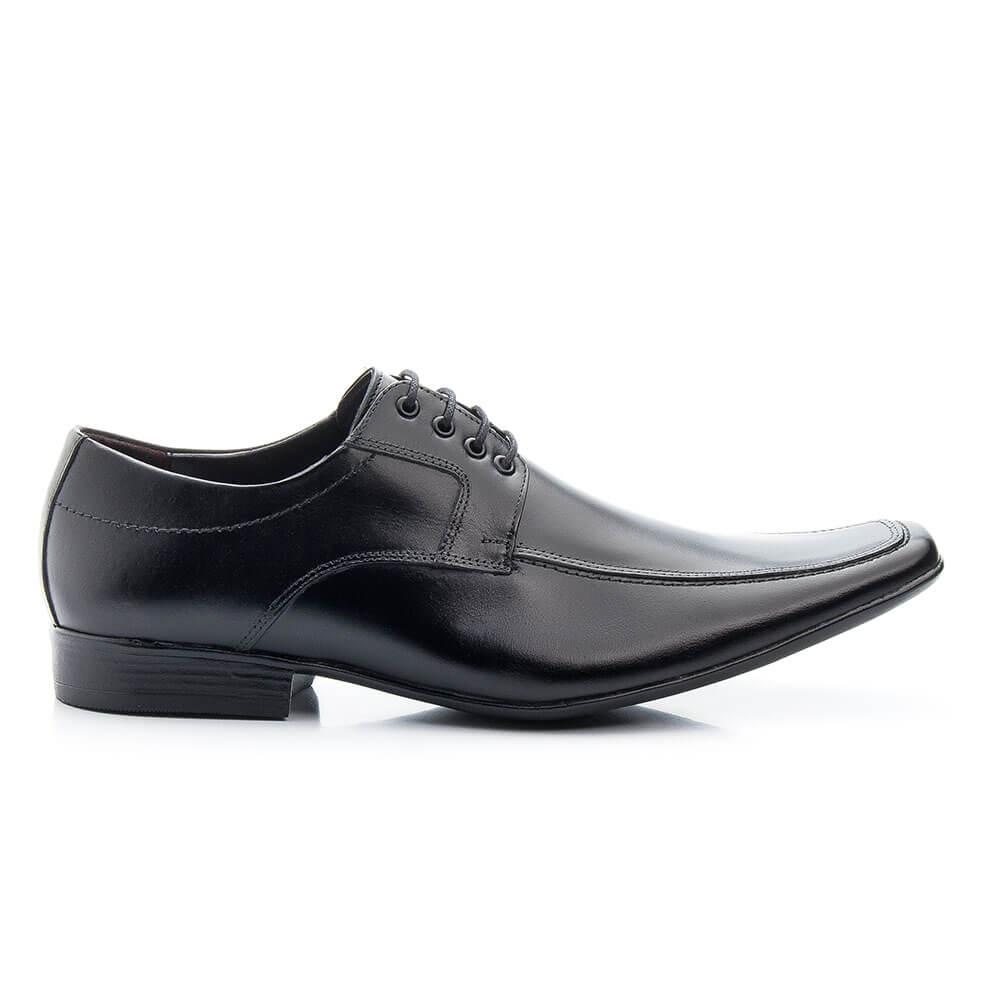 Sapato Social Bigioni Masculino Com Cadarço Couro Liso - Preto