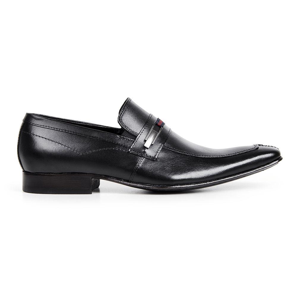 Sapato Social Bigioni Masculino Com Fivela Bico Alongado Couro - Preto