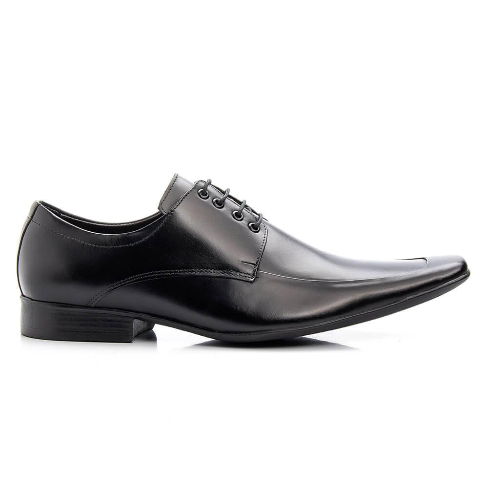 Sapato Social Bigioni Masculino de Amarrar Couro Liso - Preto
