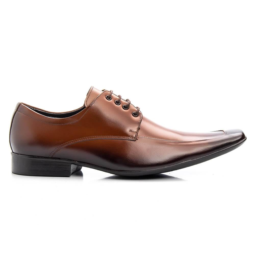 Sapato Social Bigioni Masculino de Amarrar Couro Liso - Whiskie