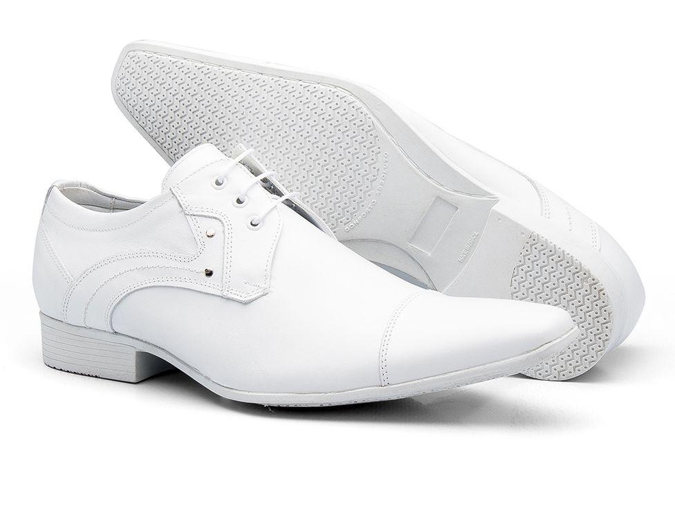 e62a71257 ... Sapato Social Bigioni Masculino Estilo Médico Amarrar Couro Liso -  Branco ...