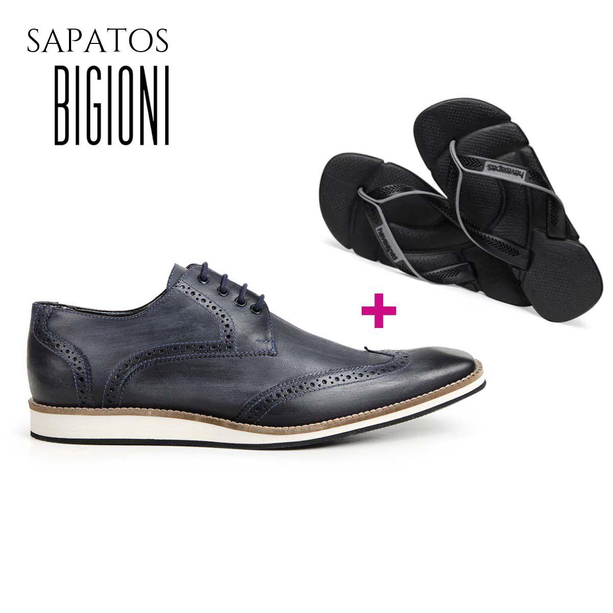 Sapato Social Oxford Bigioni Couro Estonado + Brinde Havaianas