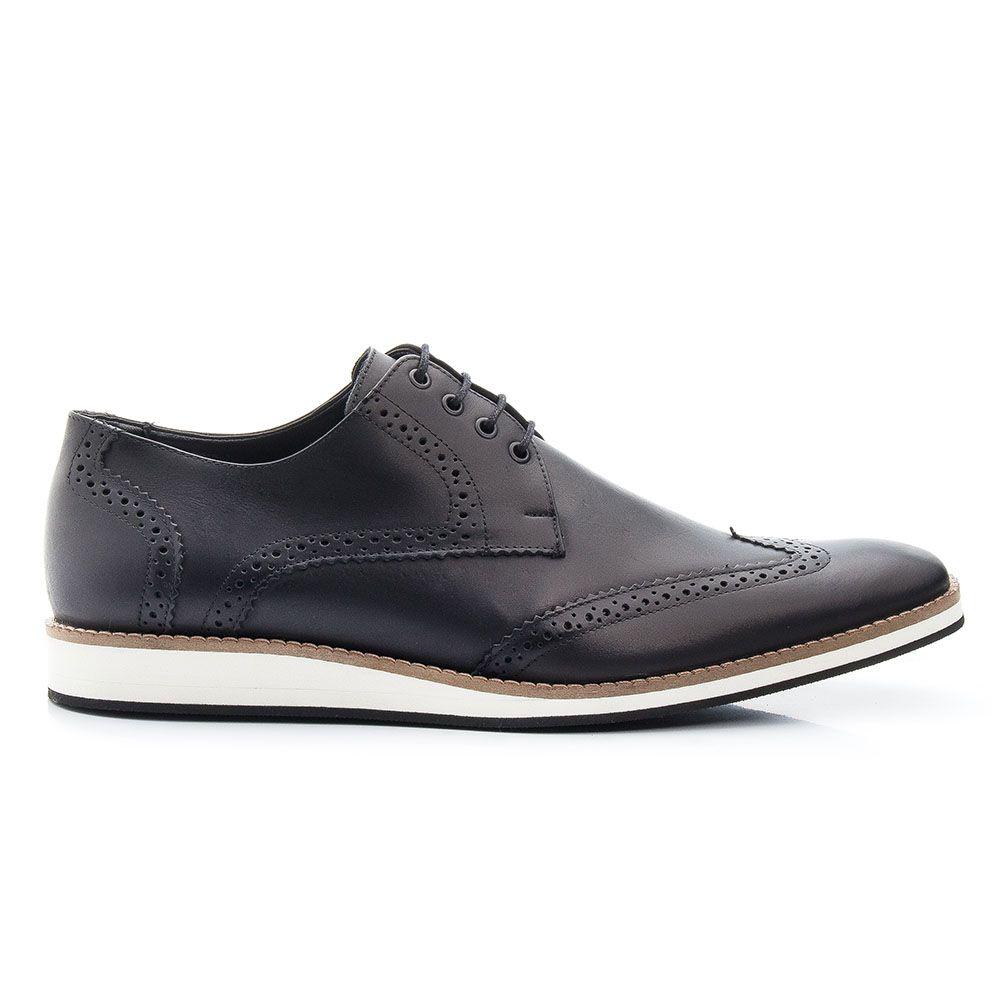 Sapato Social Oxford Bigioni Masculino Couro Estonado - Preto