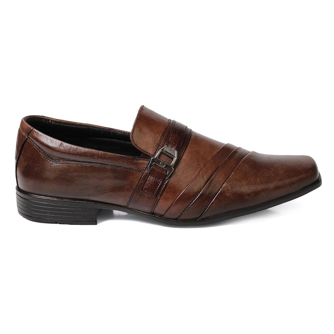 Sapato Social Tchwm Shoes Confort  Fivela Couro - Marrom