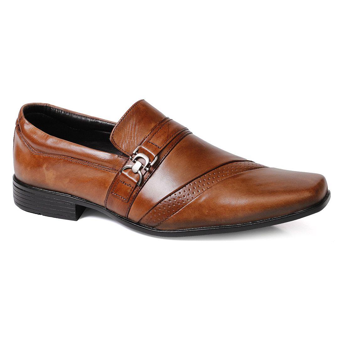 Sapato Social Tchwm Shoes Confort  Fivela Couro - Whisky