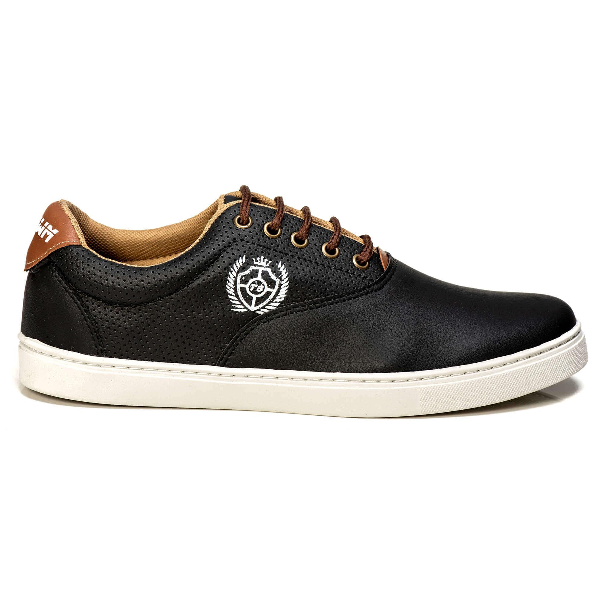 Tênis Polo Casual Masculino Tchwm Shoes Leve Macio Preto + Carteira