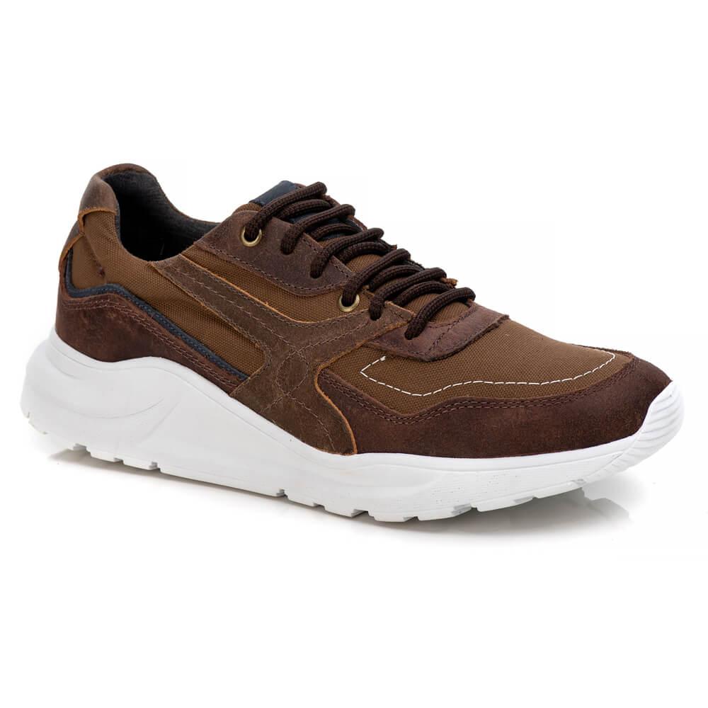 Tênis Tchwm Shoes Masculino Jogging Premium Couro - Marrom
