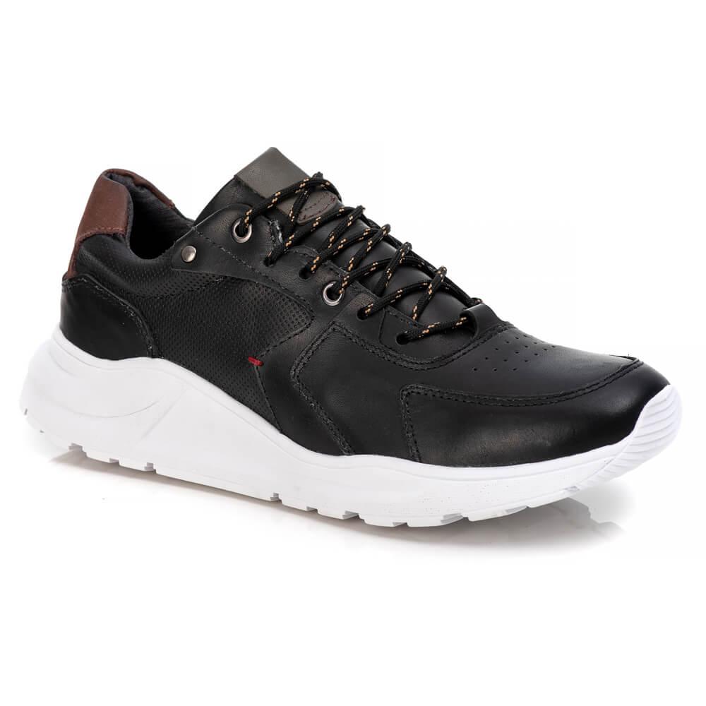 Tênis Tchwm Shoes Masculino Jogging Premium Couro - Preto