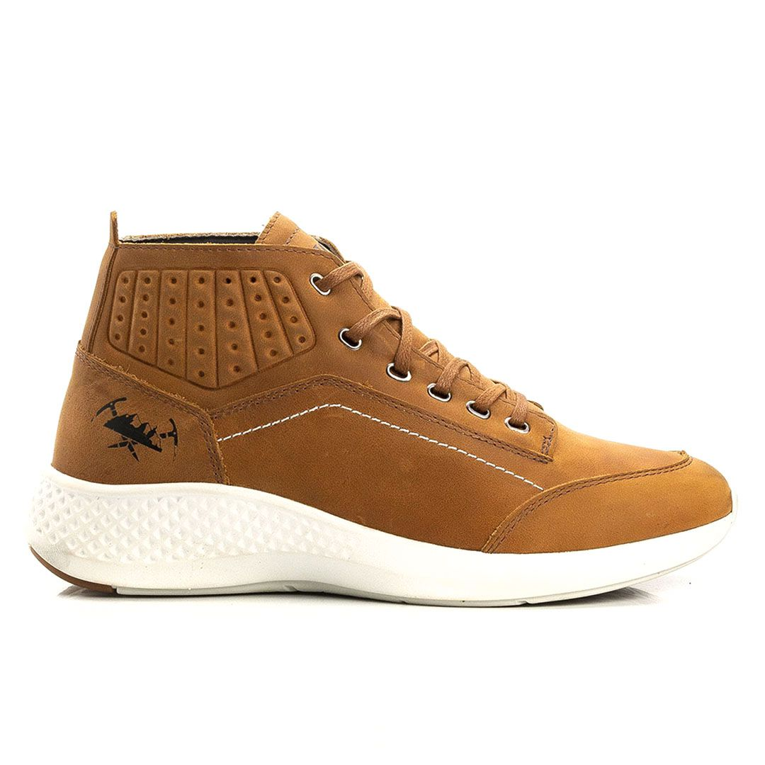 Tênis Jhon Boots Masculino Sneakers Couro Leve - Cevada
