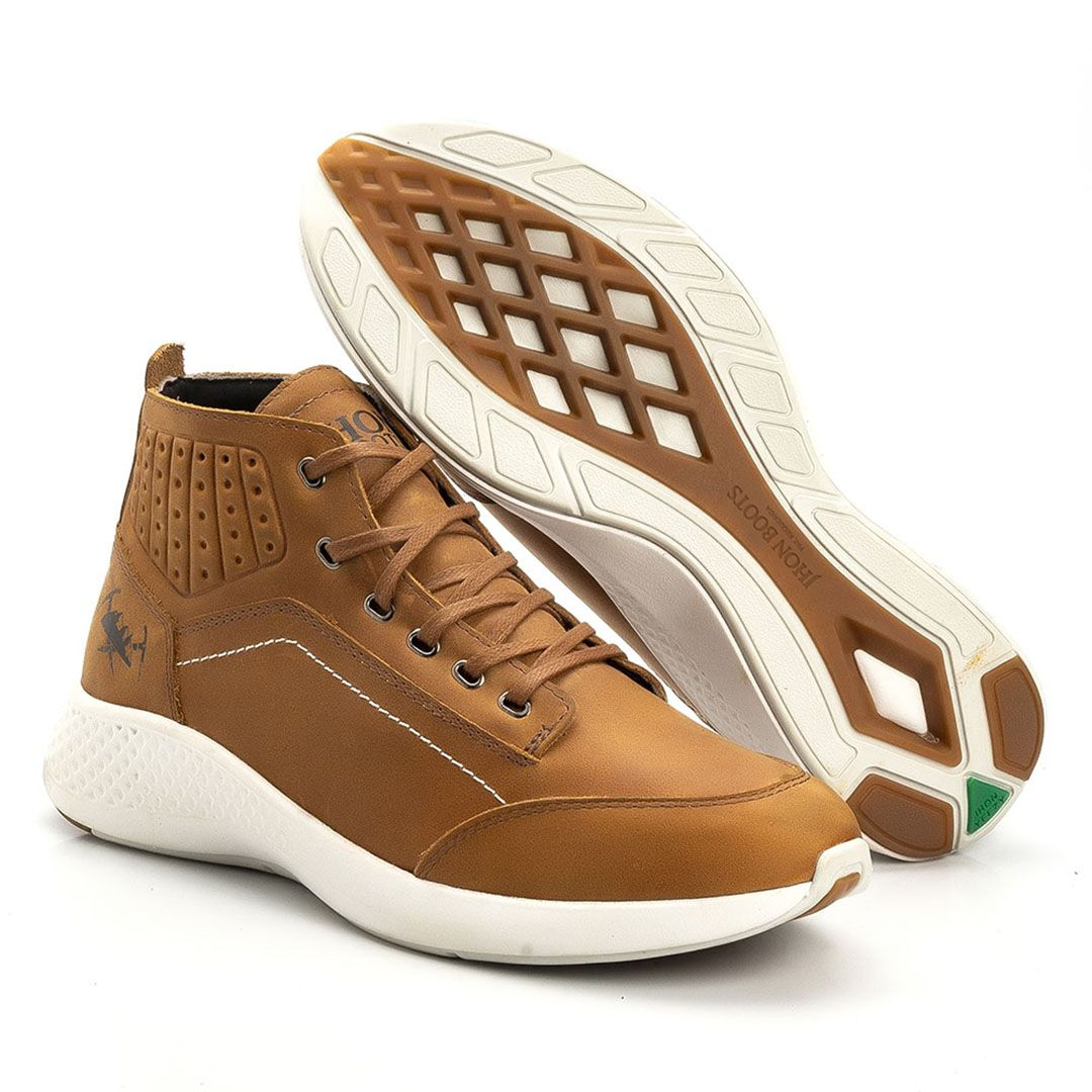 e1bcfc7dc ... Tênis Jhon Boots Yeezy Sneakers Couro - Cevada - Madrid Outlet ...