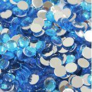 Chaton Colagem Redondo Cor Azul Claro 4mm a 12mm