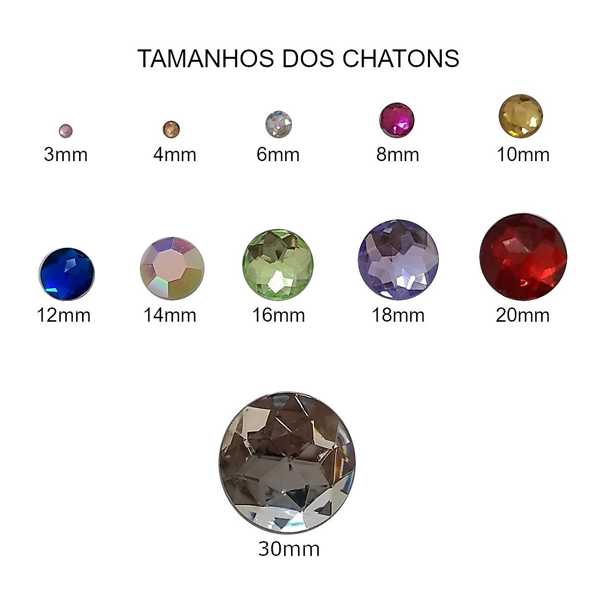 Chaton Colagem Redondo Cor Azul Claro 4mm a 12mm  - SanBiju