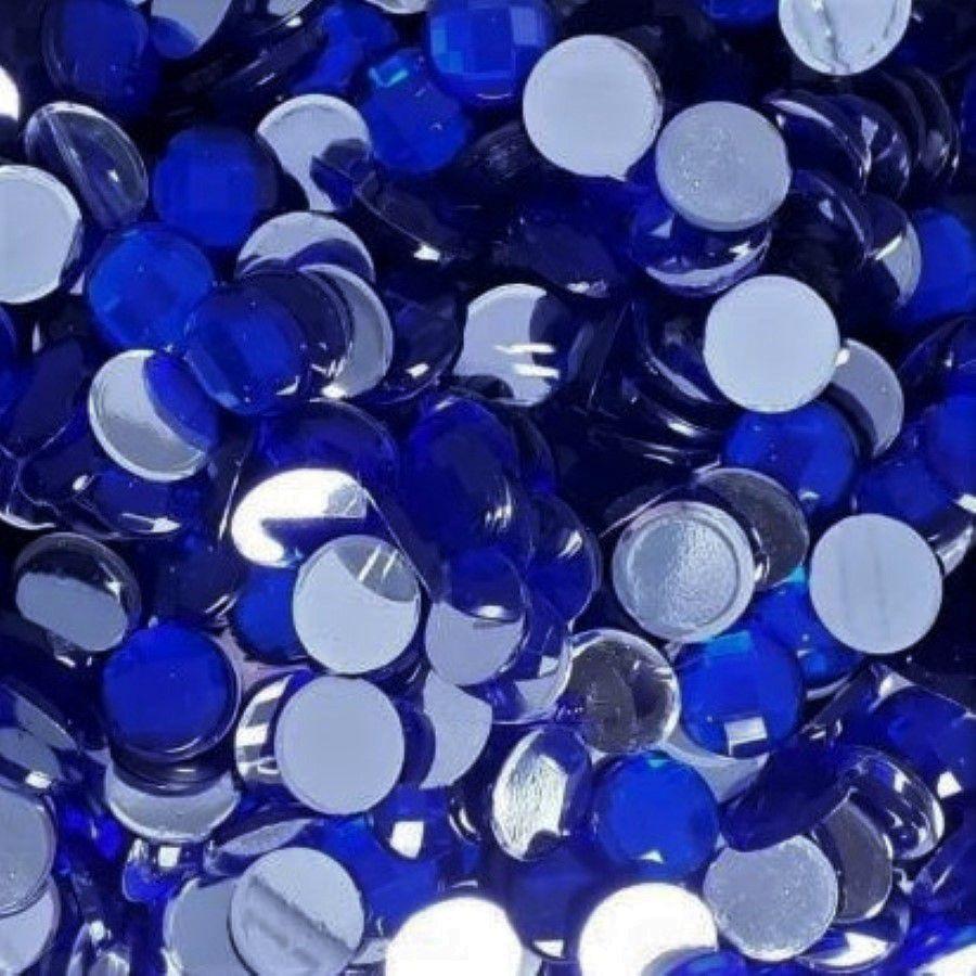 Chaton Colagem Redondo Cor Azul Escuro 4mm a 12mm