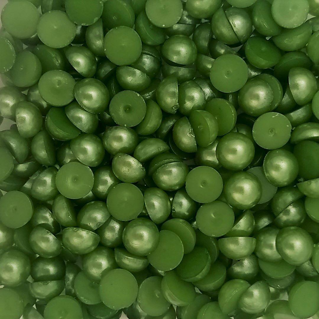 Meia Pérola Colagem ABS Cor Verde 4mm a 10mm
